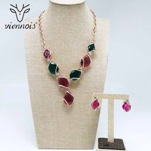 Viennois New Silver/ Rose Gold Color Rhinestone Stud Earrings Necklace Jewelry Set for Women Female Party Jewelry Sets цена
