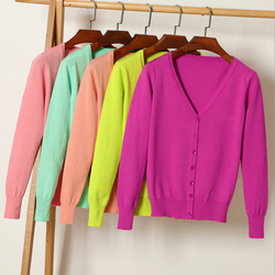 Queechalle 25 Color Autumn Knitted Cardigan Coat Women's V Neck Long Sleeve Casual Sweater Coats Female Clothes S- 4XL Plus Size 1