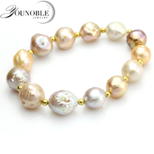 YouNoble real freshwater baroque pearl bracelet for women,real natural jewelry girl mother birthday gift 10-11mm