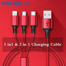 NOHON 3 in 1 Nylon USB Charging Cable Lighting For iPhone 7 8 Plus X XS MAX XR Android Xiaomi LG Huawei Samsung Charger Cord