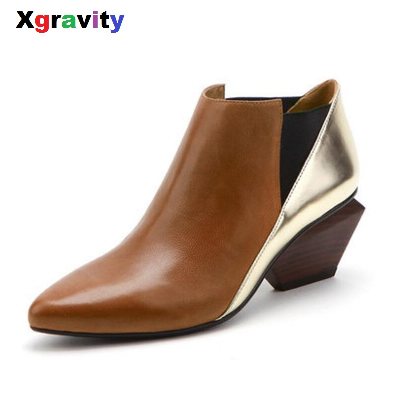 Xgravity Hot Sales New Autumn Lady Shoes Genuine Leather Woman's Chunky Heel Point Toe Fashion Boots Mix Color Ankle Boots S030 front lace up casual ankle boots autumn vintage brown new booties flat genuine leather suede shoes round toe fall female fashion