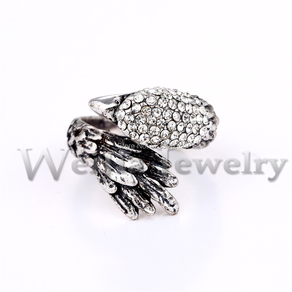 New Antique Silver Color Eagle Glede Design Men Ring Paved Full Crystals Jewelry J00438 In Rings From Accessories On Aliexpress Alibaba
