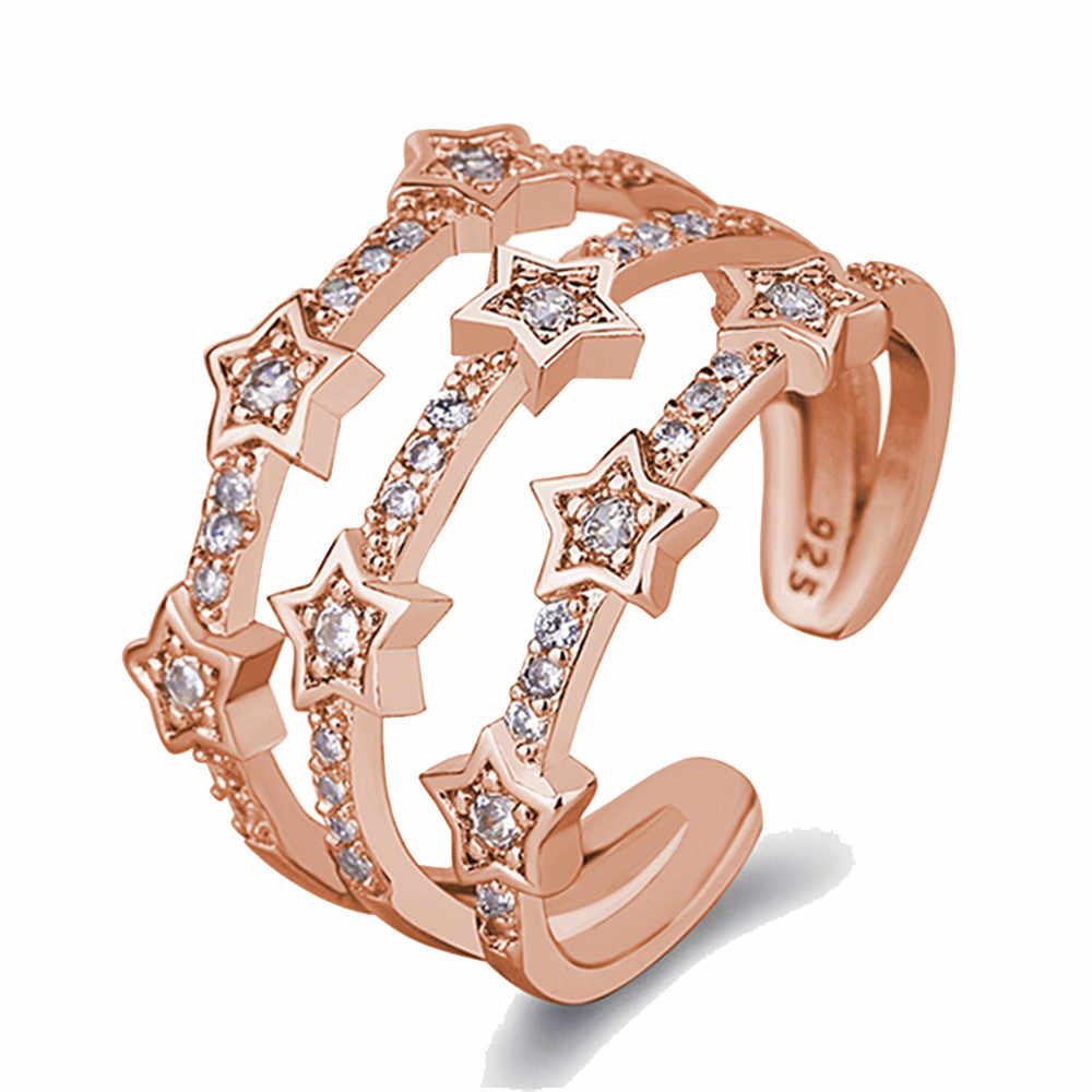 1 PC כסף עלה זהב צבע עדין חלול טבעת מעוקב זירקון כוכב מתכווננת פתיחת אצבע טבעות נשים תכשיטי חתונה מתנה
