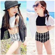 Summer Children Swimwear Set Fashion Swimsuit For Girls White Black Bikini 3pcs Bathing Suits Sunscreen Coat+Vest+Shorts