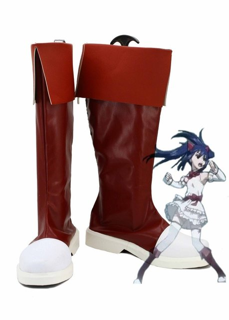 Fairy Tail Wendy Marvell Cosplay Shoes Boots Custom Made Red