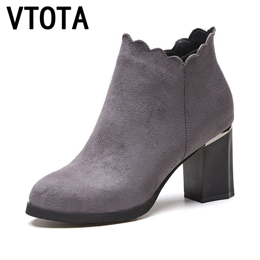 VTOTA Women Autumn Boots Thick With Women Ankle Boots For Women Botas Mujer Platform Shoes Woman High Heels Martin Boots  E39 vtota spring autumn martin boots fashion boots women high heels shoes woman botas mujer ankle boots platform bota feminina fc24