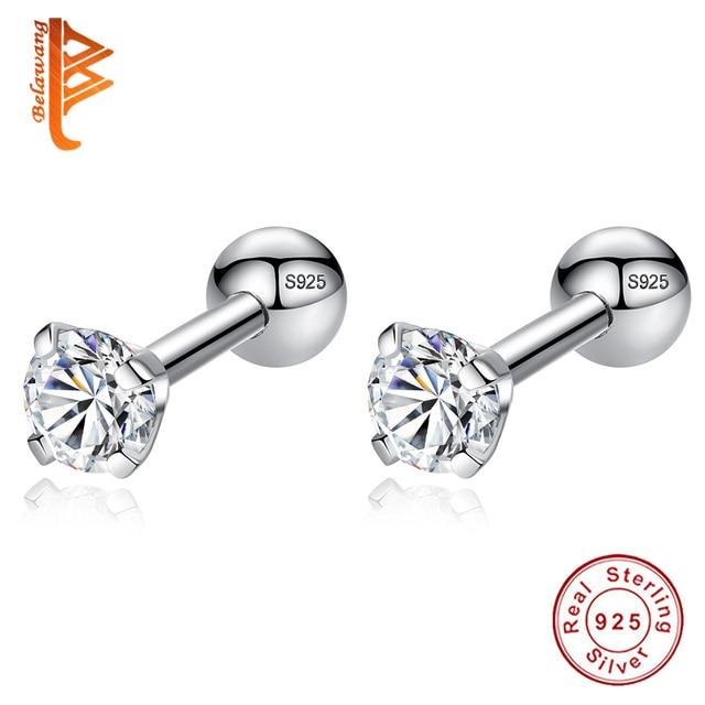 Luxury 925 Sterling Silver Small Round CZ Zircon Screw Back Stud Earrings For Women Wedding Engagement Piercing Jewelry