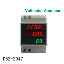 D52-2047 AC 80-300V 200-450V Power Factor Energy meter Din Rail LED Voltmeter Ammeter  Active Voltage Volt Current Meter
