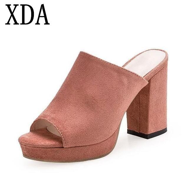 XDA 2018 fashion sandals women suede sandals thick heel slippers woman platform wedges summer shoes women flip flops F09