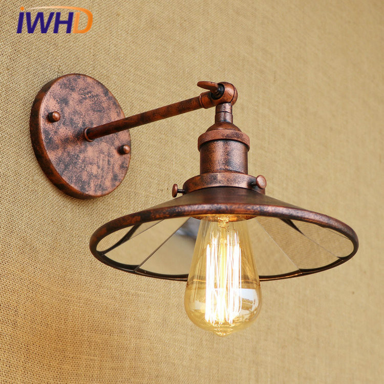 Iron RH Vintage Industrial Loft LED Wall Lamp Glass Lampshade Wall Light Fixtures For Home Lightings Applique Murale Luminaire c1000 mtk6582 quad core android 4 4 2 wcdma bar phone w 5 5 ips qhd fm finger scanner black