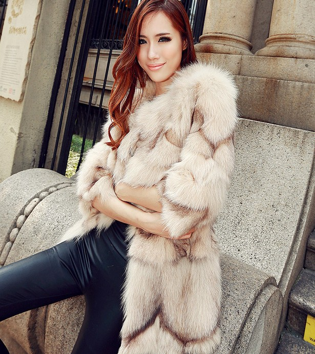 Free shipping new real/genuine natural Fox fur coat medium-long women's fashion fox fur overcoat winter Luxury jacket
