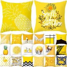 YWZN лист ананаса желтый декоративный чехол для подушки с ананасом Желтый чехол для подушки из полиэстера с принтом kussensloop