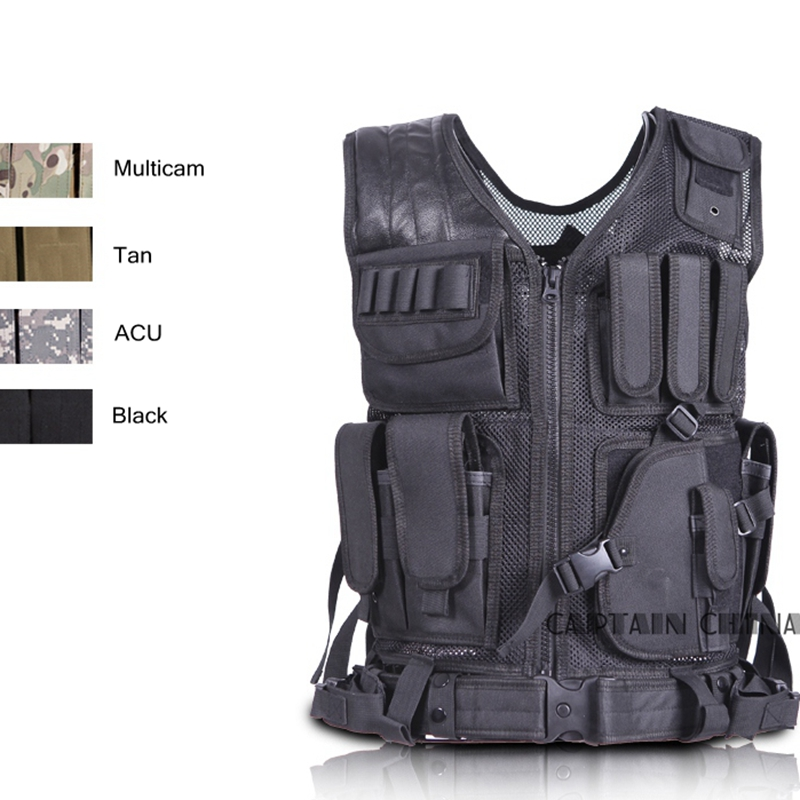 Hunting Military Tactical Vest Camouflage Wargame Body Molle Armor Hunting Vest W/ Belt & Gun Holster