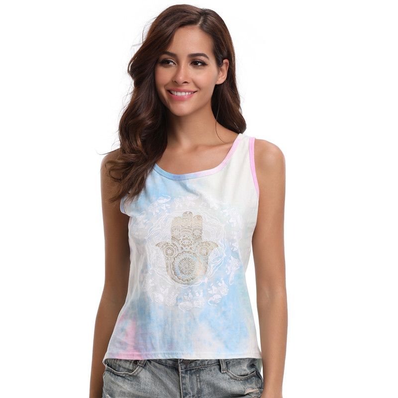 Summer Casual Off Shoulder Sleeveless Tank Tops Elephant Printed Viscose Knitted T shirt for Women 2018