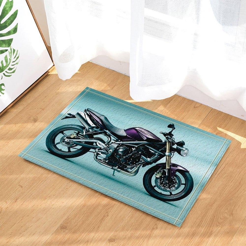 Adventurous Manly Motorcycle Decor Bath Rugs Non Slip