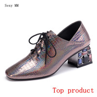 Genuine Leather High Heel Office Shoes Stiletto Women Pumps High Heels Kitten Heels Party Shoes Woman Plus Size 34 40 41 42
