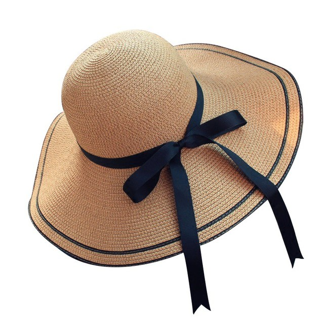 c8084cd9b45 Summer Straw Hat Women Big Wide Brim Beach Hat Sun hat Sun Block UV  protection Panama
