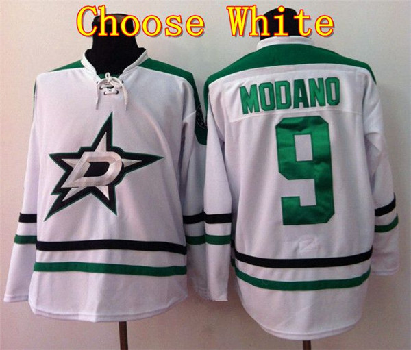 top quality production mens dallas stars 9 mike modano green white jersey ice .