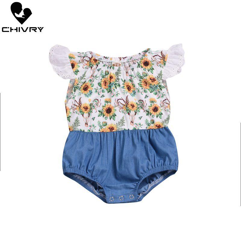 Chivry 2019 Summer Toddler Baby Girls Sunflower Print Denim Patchwork Bodysuits Fashion Ruffles Sleeve Jumpsuits Playsuits