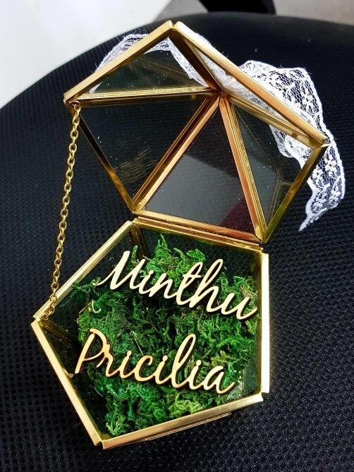 Aanpassen Naam Bruiloft Glas Ring Box Glas Ring Kussen Glazen Sieraden Doos Pentagon Geometrische Koperen Ring Houder Limpid In Zicht