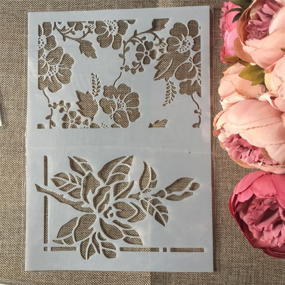 1Pcs A4 Beautiful Flowers DIY Craft Layering Stencils Wall Painting Scrapbooking Stamping Embossing Album Paper Card Template