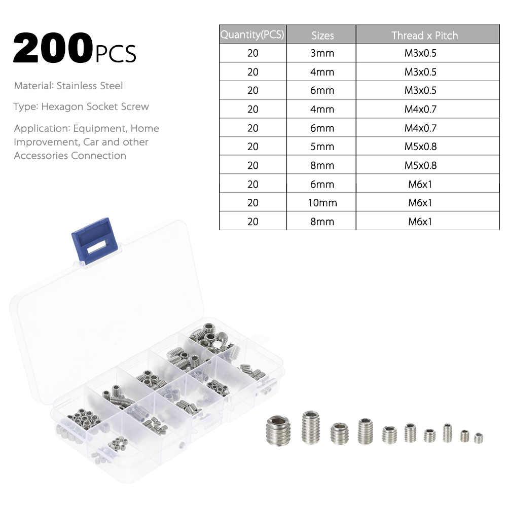 200pcs//set Stainless Steel Nut Set Hex Socket Drive Insert For Wood Furniture