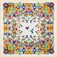 130cm 130cm 100 Silk Euro Brand Women Alcedo Atthis Bengalensis Bird Animal Printed Silk Square Scarf