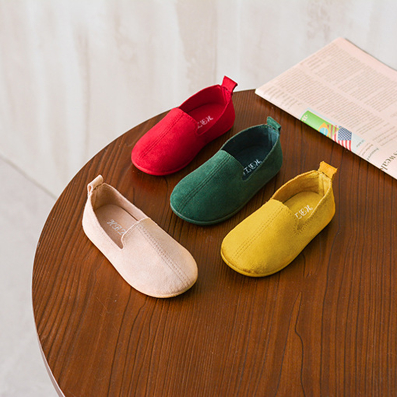 2020 Candy Colors Girls And Boys Shoes Slip-on Soft Leather Casual Sneakers Flats Children Kids Comfortable Shoes Loafers Flat