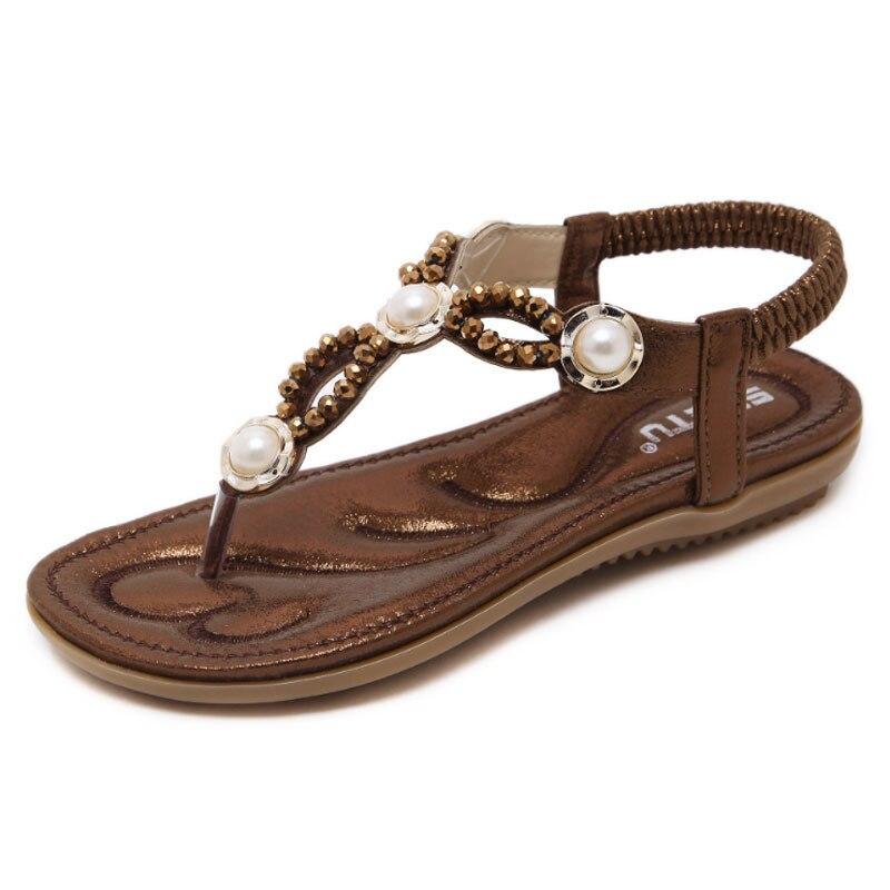 Summer Women Sandals Gold /Coffee PU Flat Sandals Causal Ladies Elastic Band Shoes Bohemia Girls Crystal Beach Flip Flops Shoes