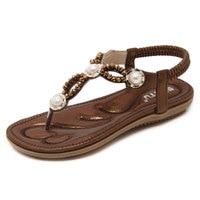 2017 Summer New Style Women Flat Sandals Causal Elastic Band Shoes Back Starp Crystal Sandbeach Shoes