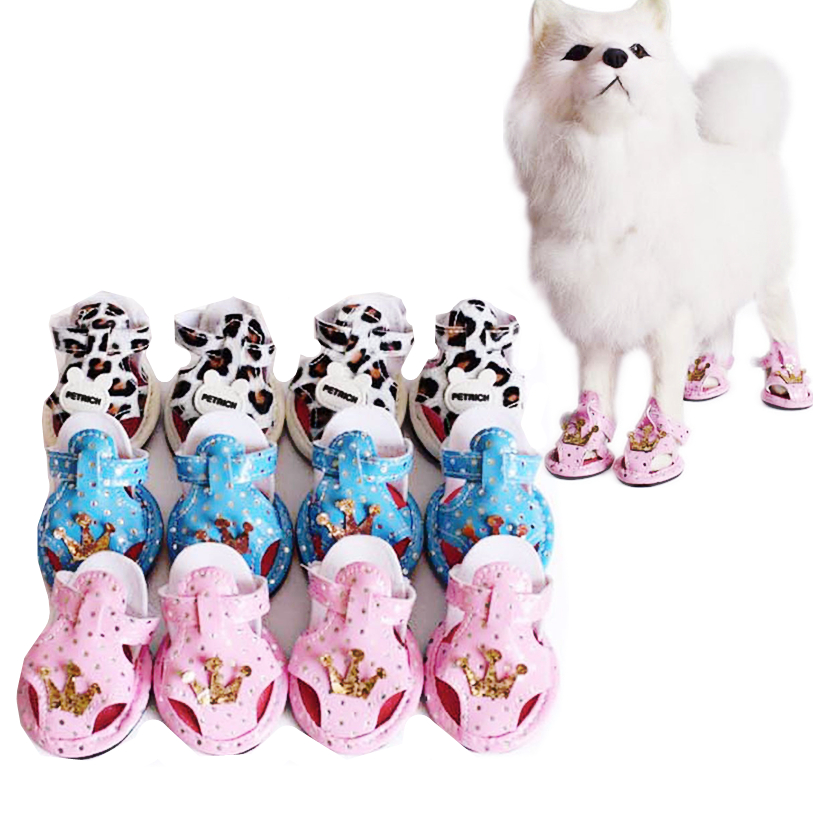 5 Sizes Sport Shoes for Dogs 4Pcs Set Summer Dog Boots Crown Sandals Dog Shoes Anti