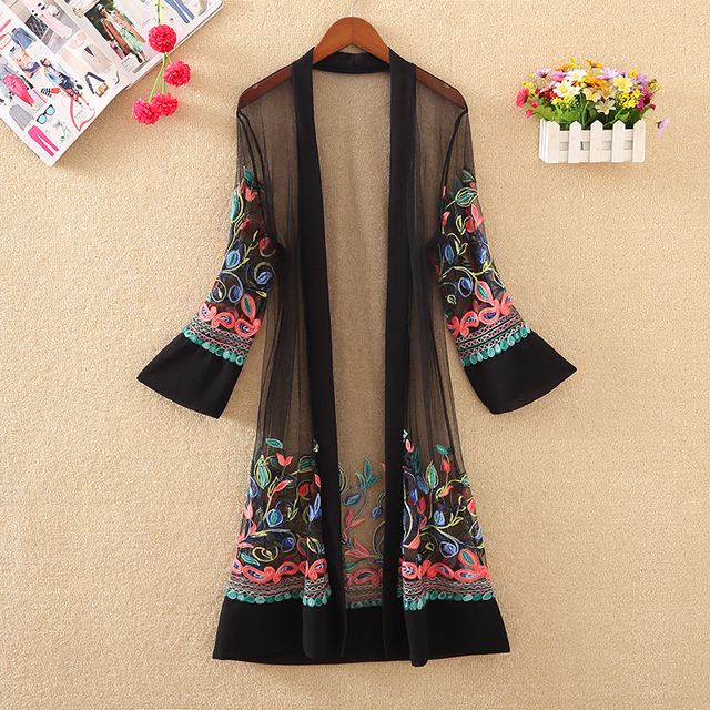 New Women Floral Embroidered Long Jacket Summer Net Cardigan Casual Long Sleeved Thin Coats Ladies Vintage Beach White Outerwear 3