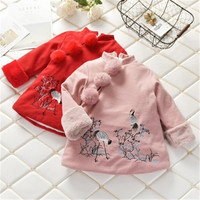 Winter Height 100 140CM Girls Kids Traditional Chinese Costumes Warm Brushed Tang Suit Crane Embroidery New