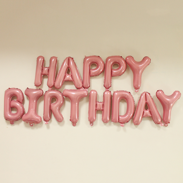 16 inch 13 pieces pink foil letter balloons happy birthday party