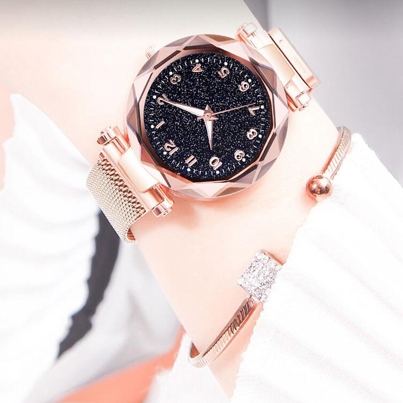 Luxury Luminous Women Watches Starry Sky Magnetic Female Wristwatch Waterproof Rhinestone Clock relogio feminino montre femme(China)