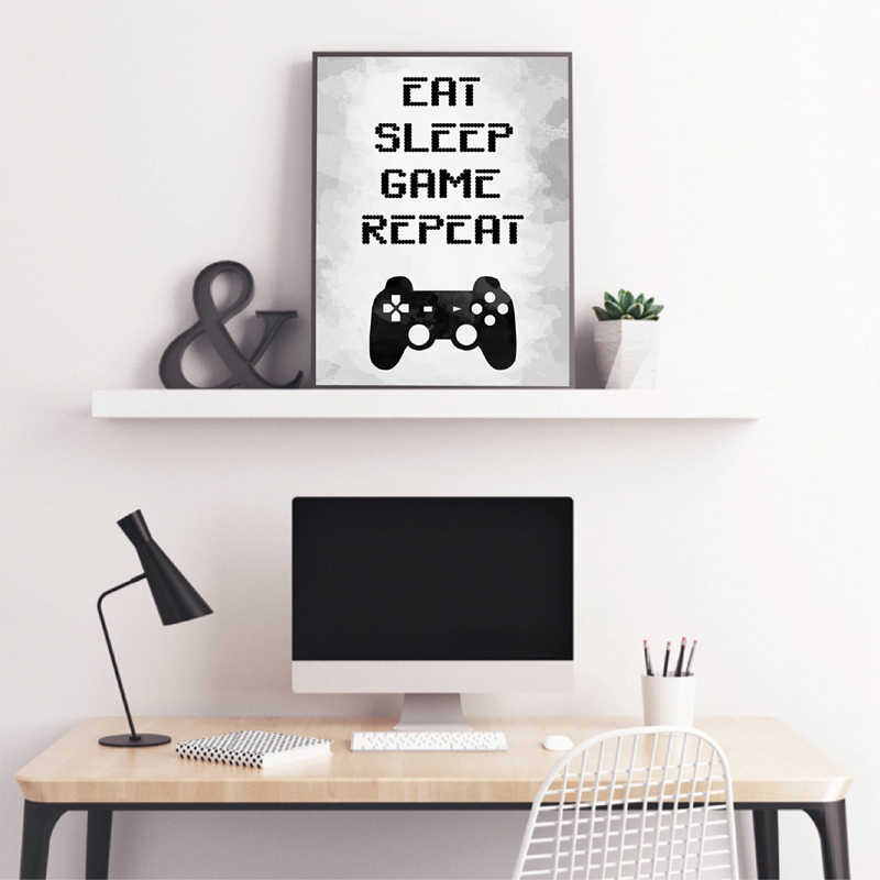 Gaming Wall Art Canvas Painting Picture Eat Sleep Game Repeat Video Game Party Poster Print Gaming Room Wall Art Decor