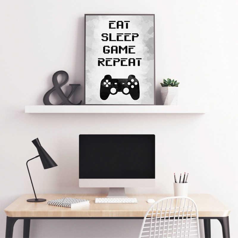Jogos Arte Da Parede Da Lona Pintura Retrato Coma o Sono Repetição Do Jogo de Vídeo Game Party Jogo Cópia do Cartaz Arte Da Parede Da Sala Decor