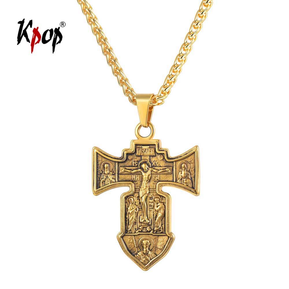 Kpop Cross Necklace Russian Orthodox Christian Jewelry