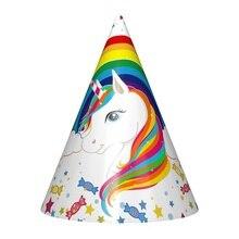 6pcs hot new rainbow unicorn Paper Caps Hats birthday party decorations Wedding valentines day decor Hat supplies Tableware