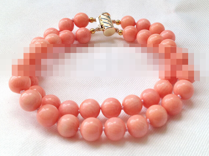 Vente chaude->@@> 00894 2row rond rose corail bracelet or rempli fermoir-Top qualité livraison gratuite