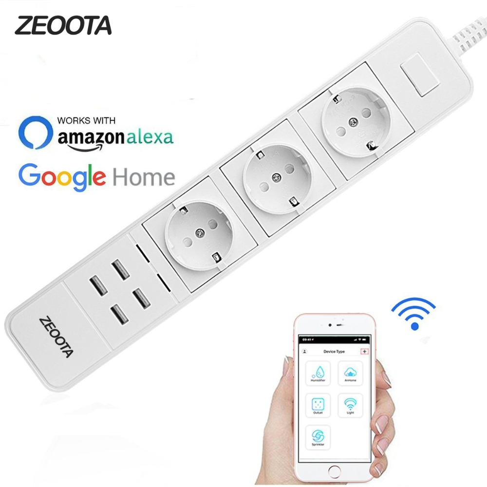 Smart Wifi Power Strip Surge Protector de múltiples tomas de corriente 4 Puerto USB Control de voz para Amazon Echo Alexa de Google casa temporizador