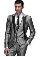 Unique Design Hot Sale Male Suits Notched Lapel Three Butten Gold Groomsman Tuxedos Men Wedding Suits ( jacket+Pants+vest+tie)