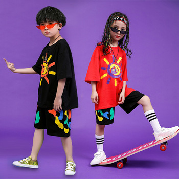 Children Hip Hop Clothing Oversized T Shirt Tops Casual Shorts for Girls Boys Jazz Dance Costumes Ballroom Dancing Clothes Wear 2