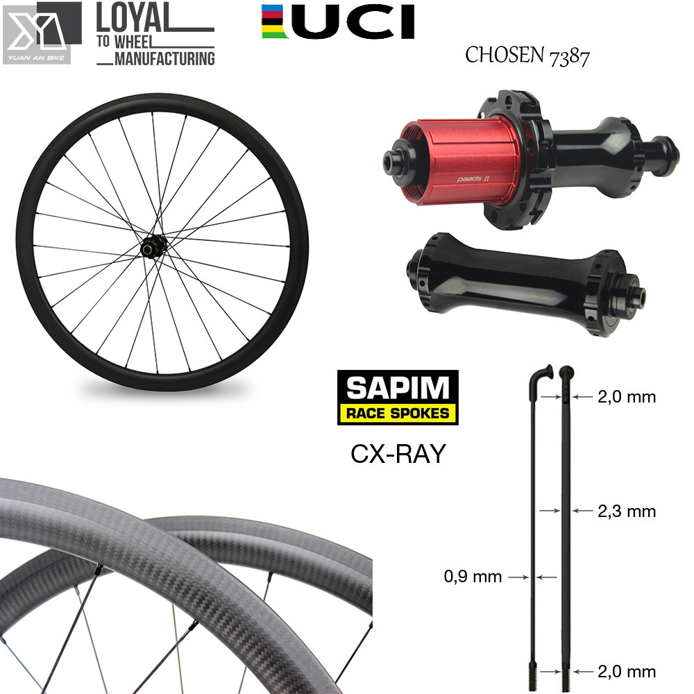 цена на Chosen 7387 Straight Pull Hub Sapim CX Ray Spoke Road Bike Carbon Wheel 700c Tubeless Clincher Tubular 30 38 47 50 60 88 Depth