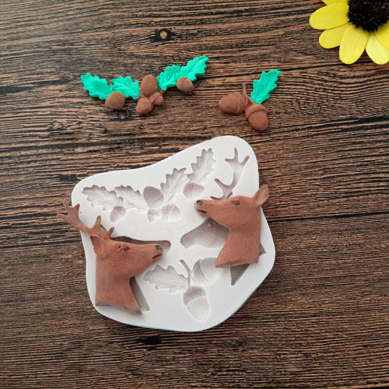 3D Deer Pine Nuts Silicone Mold Fondant Mould Cake Decorating Tools Chocolate Gumpaste Molds, Sugarcraft, Kitchen Gadgets