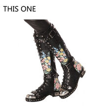 THIS ONE Flower Print Women Knee High Boots Fashion Rivets Studded Riding High Boots Platform Lace Up Botas Mujer for Autumn цены онлайн