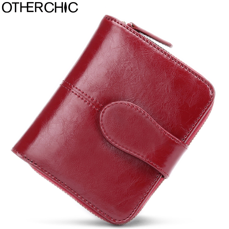 OTHERCHIC Oil Wax Cowhide Leather Women Short Wallets Small Wallet Coin Pocket Credit Card Female Purse Money Clip 5N12-03 vintage women short leather wallets stylish wallet coin card pocket holder wallet female purses money clip ladies purse 7n01 18