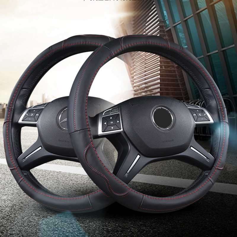 Steering Wheel Cover Leather Case Car Accessories 38/36/39cm for Ford Focus 2 3 Mercedes Audi BMW Opel AstraKia Nissan lada