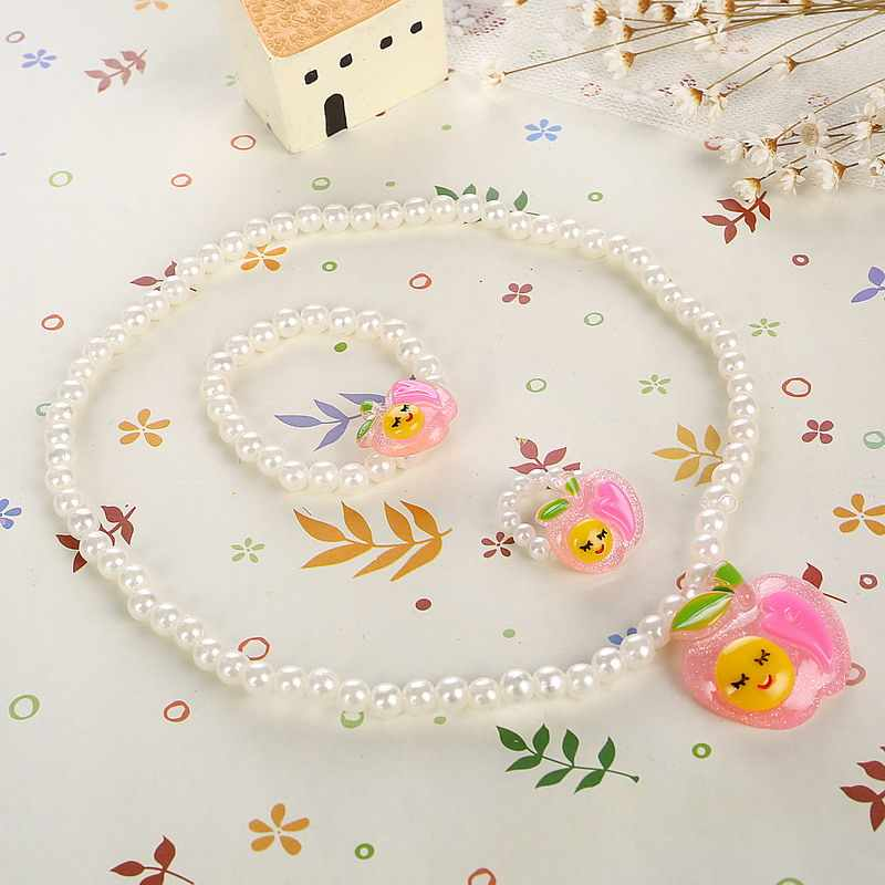 Children Apple Pendant Necklace Bracelet Ring Acrylic Kids Simulated Pearl Jewelry Sets for Baby