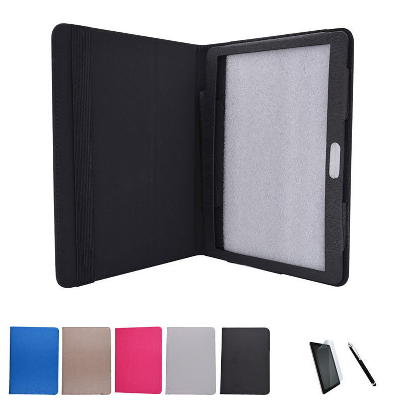 PU Leather Case Stand Cover for BQ Aquaris M10 Ubuntu Edition 10.1 Tablet PC + Screen Protective Film + Stylus Pen